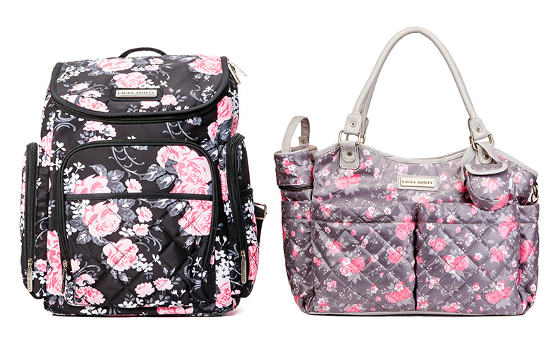 4-in-1 Black Zip Around Floral Backpack Diaper Bag  a618524517371