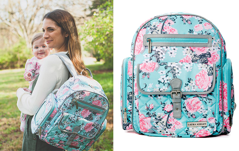4-in-1 Rose Floral Dome Backpack Diaper Bag - Teal 530e162779ff8